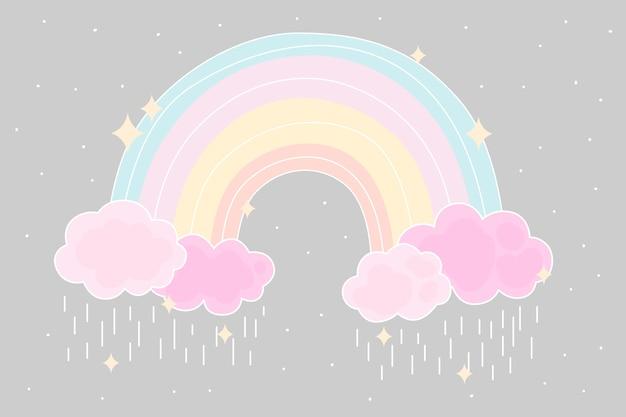 Vlakke stijl kleurrijke regenboog