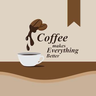 Vlakke stijl koffie ontwerp banner, vectorillustratie