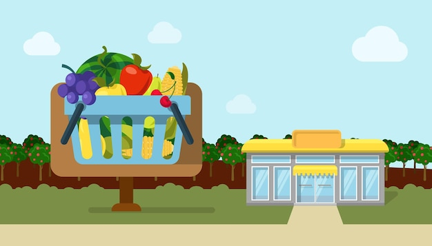 Vlakke stijl landbouw fruit groente
