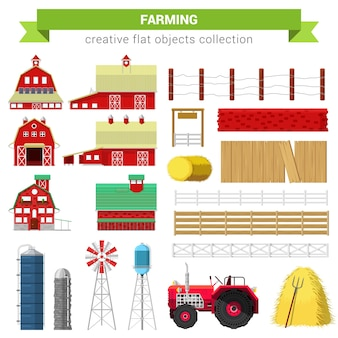 Vlakke stijl landbouw landbouw set. boerderij rancho gebouw schuur molen container opslag verwerking hek stapel watertank tractor. collectie creatieve objecten.