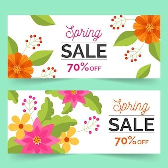 Vlakke stijl lente verkoop banners met korting