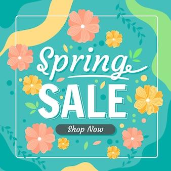 Vlakke stijl lente verkoop met korting