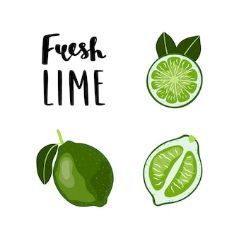 Vlakke stijl lime fruit illustratie met belettering.