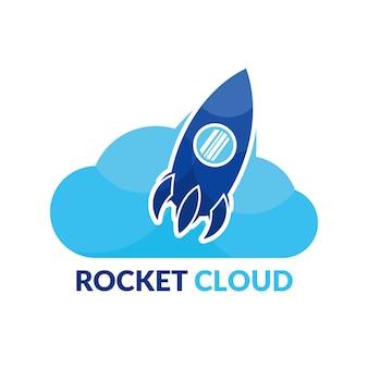 Vlakke stijl logo met moderne raketwolk