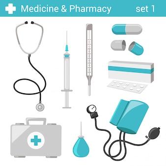 Vlakke stijl medische farmaceutische ziekenhuisapparatuur illustratie set.