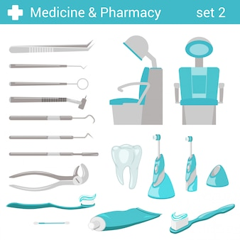 Vlakke stijl medische tandheelkundige ziekenhuis apparatuur illustraties set.