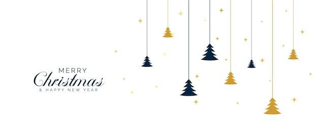 Vlakke stijl merry christmas banner met boomdecoratie