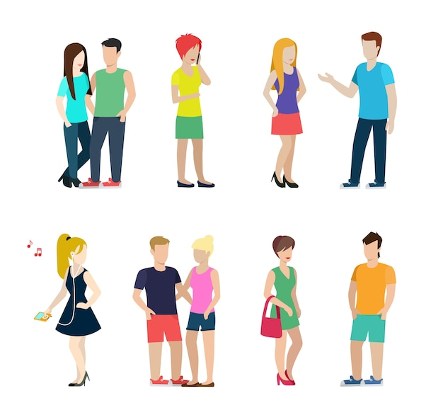 Vlakke stijl moderne mensen in casual kleding situaties set. paren daten geïsoleerd. mannen vrouwen levensstijl.