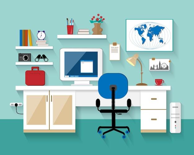 Vlakke stijl moderne werkplek in de kamer.