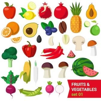 Vlakke stijl mooie kwaliteitsset van groenten en fruit. appel citroen granaatappel ananas avocado sinaasappel pruim koffieboon paddestoel limoen meloen maïs erwten bieten selderij spruiten. creatieve voedselcollectie.