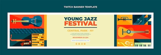 Vlakke stijl mozaïek muziekfestival twitch banner