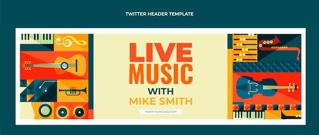Vlakke stijl mozaïek muziekfestival twitter header