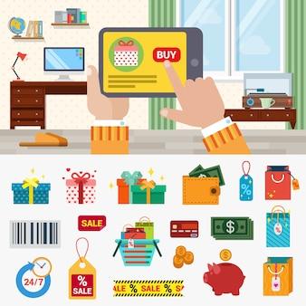 Vlakke stijl online shopping concept set. hand touch tablet site productinterface kopen knop doos cadeau geld munt dollar portemonnee verkoop label winkelwagen barcode. moderne technologie creatieve collectie