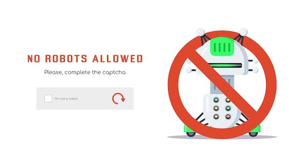 Vlakke stijl ontwerp voor captcha-webpagina