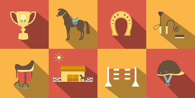 Vlakke stijl paard pictogrammen