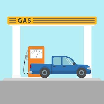Vlakke stijl pick-up auto bij het benzinestation