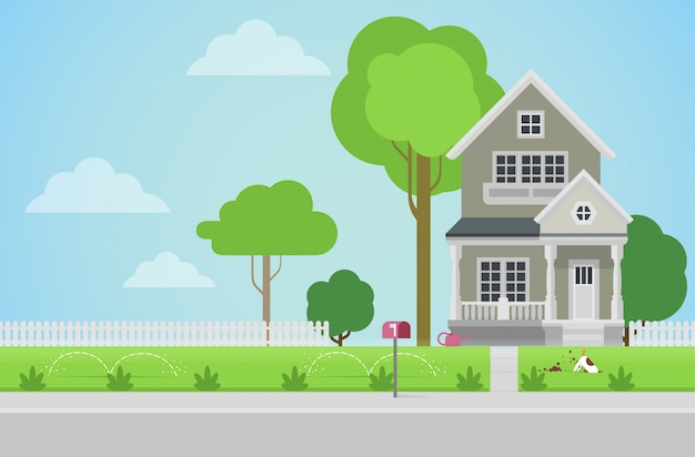 Vlakke stijl platteland gezinswoning met achtertuin gazon concept.