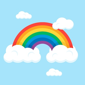 Vlakke stijl regenboog met wolken