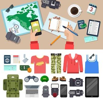 Vlakke stijl reizen blog icon set bovenaanzicht tafel cameralens notities tablet slimme telefoon kleding speedlight laptop rugzak verrekijker geld paspoort ticket aansteker sigaret vakantie vakantie concept