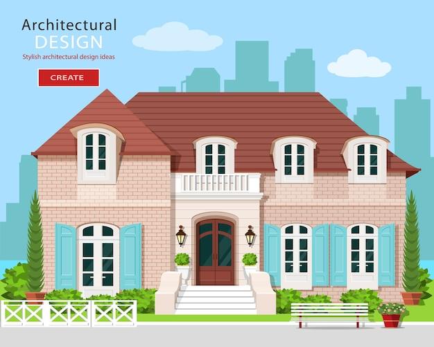 Vlakke stijl schattig vector gebouw met stad achtergrond.