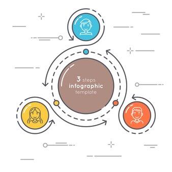 Vlakke stijl stappen cirkel infographic sjabloon. dunne lijn busine