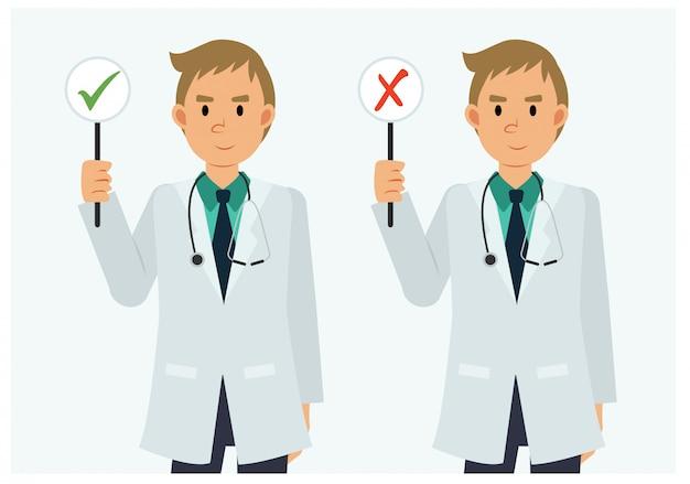 Vlakke stijl stripfiguur van mannelijke arts met een goed en fout teken.