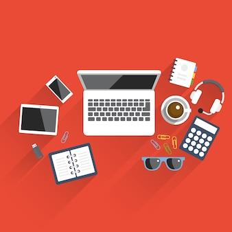Vlakke stijl tafel objecten kantoor