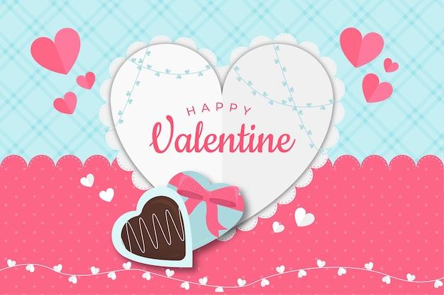 Vlakke stijl valentijnsdag achtergrond met hart