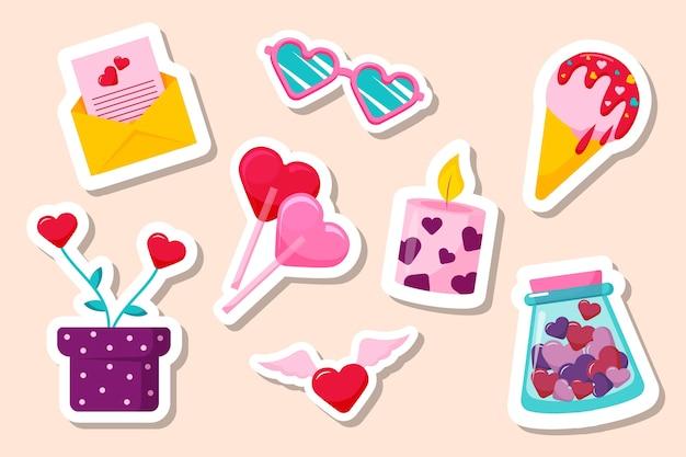 Vlakke stijl valentijnsdag element collectie