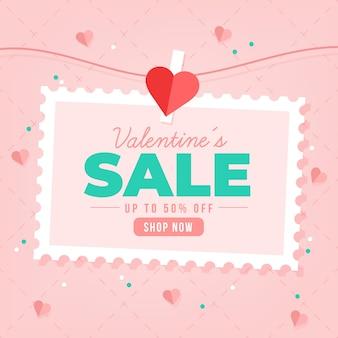 Vlakke stijl valentijnsdag verkoop met korting