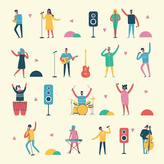 Vlakke stijl van groep zingende en spelende muziekinstrumentmensen