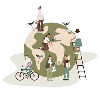 Vlakke stijl vector illustratie concept van zorg voor de aarde en bescherming van het milieu.
