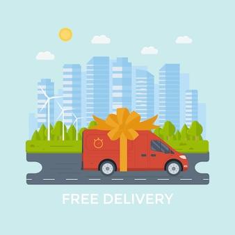 Vlakke stijl vector illustratie gratis levering dienstverleningsconcept. vrachtwagen met dooscontainer, winkel, winkelverzending met sity-achtergrond. vector plat conceptueel ontwerp.