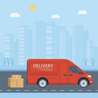 Vlakke stijl vector illustratie levering dienstverleningsconcept. vrachtwagen met bakcontainer, winkel verzending. vector plat conceptueel ontwerp.