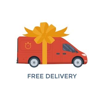 Vlakke stijl vector illustratie levering service concept sticker. vrachtwagen met dooscontainer geïsoleerd op een witte achtergrond, gratis verzending van de winkel. vector plat conceptueel ontwerp.