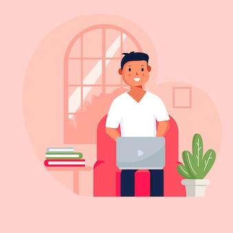 Vlakke stijl vectorillustratie. thuis studeren . mensen die online studeren met behulp van de computer.