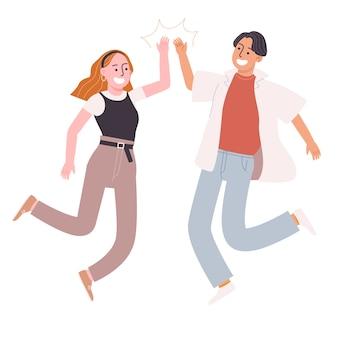 Vlakke stijl vectorillustratie van cartoon karakter mensen springen en geven high five geïsoleerd op wit