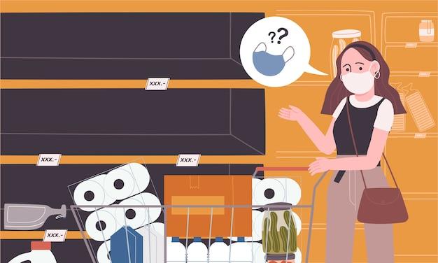 Vlakke stijl vectorillustratie van lege plank in de supermarkt.