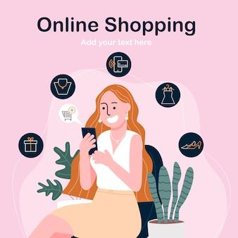 Vlakke stijl vectorillustratie van stripfiguur gelukkige vrouw online winkelen op smartphone.