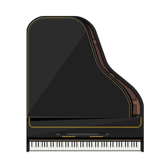Vlakke stijl vleugel piano illustratie