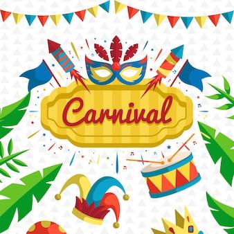 Vlakke stijl voor carnaval feest met masker