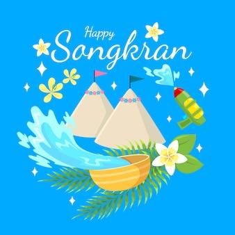 Vlakke stijl voor songkran festival