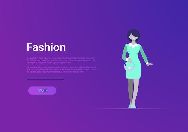 Vlakke stijl vrouw mode web banner sjabloon vectorillustratie