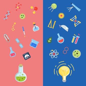 Vlakke stijl wetenschap pictogrammen vliegen boven flacon en gloeilamp concepten illustratie
