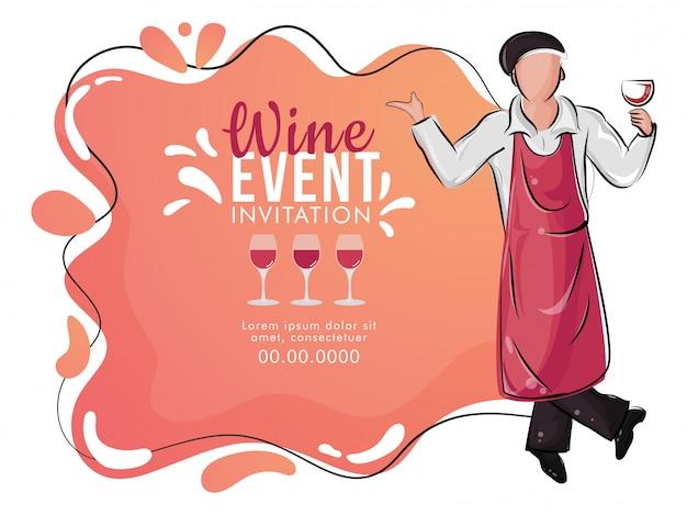 Vlakke stijl wijnproeverij evenement banner of poster ontwerp met illustratie van bar ober bedrijf wijn glas op abstracte achtergrond.