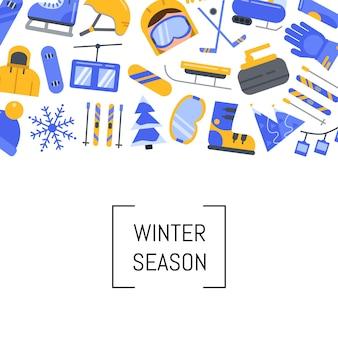 Vlakke stijl wintersportuitrusting en attributen