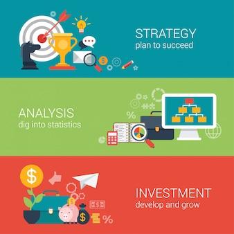 Vlakke stijl zakelijk succes strategie doel doel, financiële analyse, groei investeringen infographic concept.