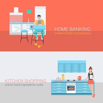 Vlakke stijlenset mensen sofa vrije tijd keuken ontspannen online activiteit. zittende man laptop online bankieren. jonge vrouw kachel tablet maaltijd ingrediënt volgorde. creatieve mensencollectie.