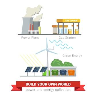Vlakke stijlenset van pictogrammen voor het concept van de macht eco-vriendelijke groene energie. elektriciteitscentrale schoorsteen rokerige smog gas bijvulstation zonnebatterij windmolen gescheiden afvalinzameling. creatieve energetica-collectie.