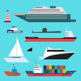 Vlakke stijlenset van zeetransport op blauwe waterachtergrond.
